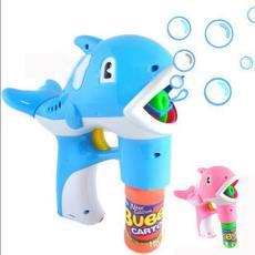 热卖大号实色电动海豚泡泡枪 地摊广场玩具批发 音乐灯光吹泡泡