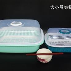 碗盆碗筷华瑞带盖沥水放碗盘小碗柜塑料欧式盒滴水筛碗架厨房大众