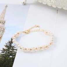 蕾丝仙女手链 3-6mm天然淡水珍珠14k注金材质 纯手工编织