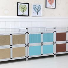 橱柜铝合金简易碗柜厨房家用免打孔多功能储物柜带门金属柜置物架