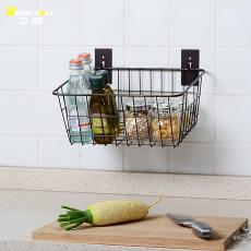 免壁挂式厨房挂篮可拆卸打孔置物架置物篮调味品调味料 架储 90后