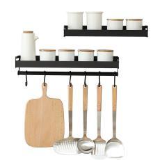 架调料架免打孔 黑色厨房壁挂锅铲调味品刀置物架挂钩家用调味料