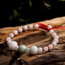 女款女士手串手工编织玉饰品 天然翡翠玉石三颗玫瑰花编织手链