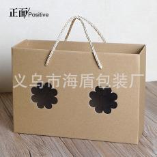 进口牛皮纸创意开窗牛皮纸手提袋 厂家直销定制 环保坚固耐用