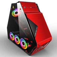 批发高端网吧玻璃水冷 T9大箱 网红台式机电脑三角形主机箱玩嘉