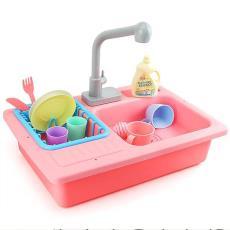 儿童仿真过家家电动出水洗碗槽厨房电动微波炉烤箱玩具 淘宝热销