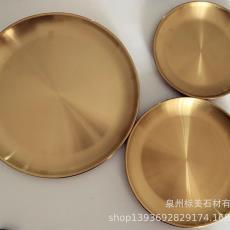 置物收纳盘家居水果盘茶盘摆件 北欧黄铜金色圆形金属大托盘
