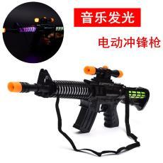 兒童發光音樂電動沖鋒槍 地攤熱賣玩具塑料槍 仿真模擬聲音機關槍