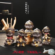 创意紫砂茶宠摆件可爱猴子车载摆件茶盘茶具齐天大圣孙悟空金箍棒
