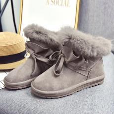 冬季新款短筒毛毛雪地靴女韩版休闲百搭加绒保暖棉鞋学生休闲短靴