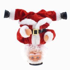 新奇有趣倒立旋转特技电动音乐圣诞老人玩偶玩具圣诞礼物跨境专供