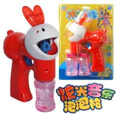 地摊热卖 儿童吹泡泡玩具 灯光音乐配2瓶水 实色兔子电动泡泡枪