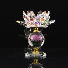 水晶蜡烛台摆件佛贡灯长明灯供佛烛台 水晶玻璃莲花烛台酥油灯座