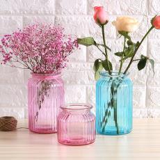 批发竖纹花瓶玻璃瓶复古彩色玻璃花瓶家居摆件玻璃插花瓶
