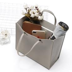 小拎包 通勤手提 包邮 森系灰色皮革防水手提袋子 日本杂志款