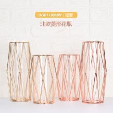北欧金色铁艺菱形插花瓶创意家居玻璃水培花瓶现代轻奢装饰摆件
