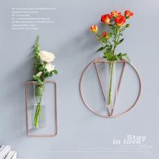 ins风金色玫瑰金玻璃花瓶客厅干花插花摆件创意家居装饰 派一原创