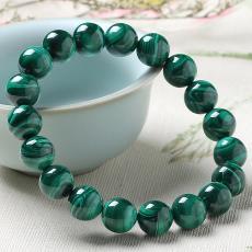 天然7A綠色孔雀石圓珠手鏈孔雀紋原石無染色水晶手串飾品廠家直銷