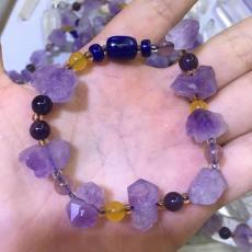 廠家批發天然紫水晶手鏈 紫水晶搭配青金石紫水晶 紫水晶原石手鏈