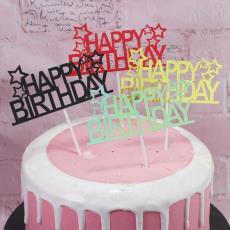 蛋糕裝飾插旗 birthday生日蛋糕裝飾插牌插卡 五角星happy