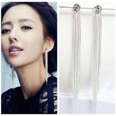 时尚大牌范潮耳环镶钻钻石长款流苏银耳环气质奢华耳环热卖批发