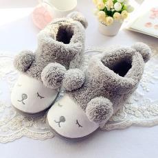 新品 小羊拖鞋球球情侣包跟棉鞋 羊羔绒眯眼小绵羊室内家居棉鞋