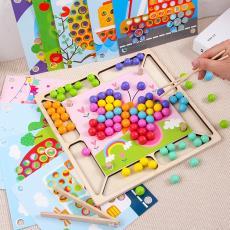 木制早教夹珠子游戏宝宝锻炼使用筷子益智手眼协调训练夹球玩具