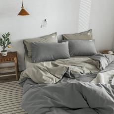 北欧风水洗棉四件套全棉纯棉纯色床笠网红宿舍被套三件套床上用品