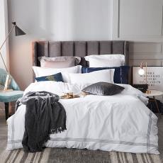 美式轻奢纯色酒店直线绣花四件套全棉纯棉被套床单床笠床上用品