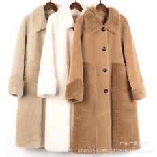羊剪绒皮毛一体2019新款羊绒大衣中长款皮草外套韩版年轻款女库存