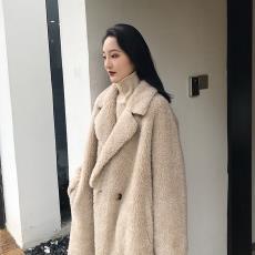 冬季新款羊剪复合皮毛一体长款宽松保暖皮草羊毛大衣外套