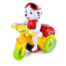万向轮声光音乐特技电动地摊玩具小狗三轮车