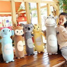 森林动物长条抱枕圆柱型抱枕毛绒玩具四面弹抱枕礼品