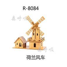 森呼吸荷兰风车批发激光切割木质建筑模型益智拼图diy玩具摆件