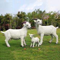 户外园林景观小品仿真动物玻璃钢雕塑假山羊草坪装饰品农场工艺品