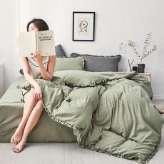 日式可爱公主风床上用品纯色荷叶边四件套床单被套 厂家直销