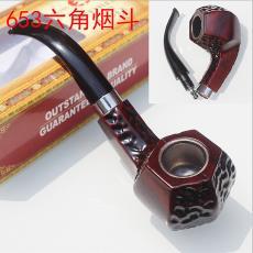 铁锅旱烟斗批发 六角雕刻商务胶木烟斗 CF653 六边形酒红烟丝斗