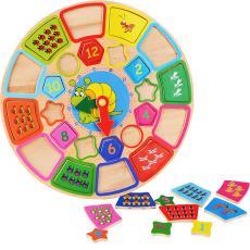 儿童早教益智木制卡通时钟闹钟形状配对积木宝宝婴幼儿玩具 拼图