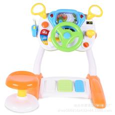 宝丽1712儿童仿真模拟驾驶室多功能音乐方向盘游戏桌早教益智玩具