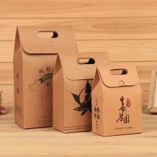 年货牛皮纸礼盒定制 手提礼品纸盒定做 特产干果红枣茶叶包装盒