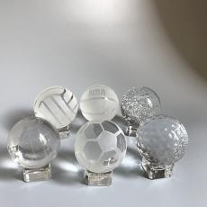 水晶篮球摆件足排球高尔夫玻璃圆球体居家装饰体育竞赛奖品送男友