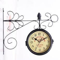 创意复古地中海风格 双面复古挂钟一件代发 两面铁艺金属工艺钟表
