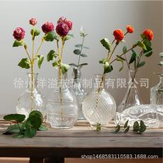 装饰花瓶道具拍照客厅插花摆件 欧式ins简约复古浮雕水晶透明花瓶