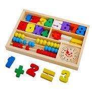 儿童早教玩具学习数字多功能盒珠算架时钟数字颜色加减