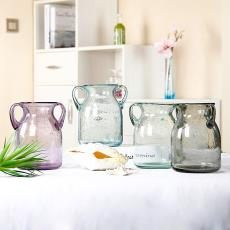 厂家定制玻璃花瓶批发 来样定制大中小花瓶 色料气泡摆饰花瓶供应