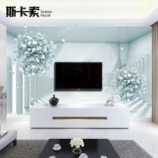 3d电视背景墙壁纸5d立体凹凸8d浮雕壁画客厅整张大气时尚蓝色圆球