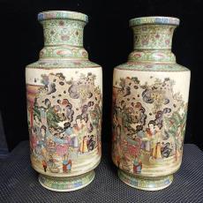 廠家古玩瓷器做舊仿古乾隆御制粉彩手繪棒槌瓶家居裝飾擺件新款