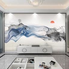 新中式简约沙发电视背景墙客厅书房壁纸山水壁画酒店茶室背景墙画