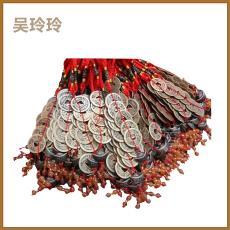 厂家供应金属铜钱工艺品/红色挂结五帝招财铜钱串