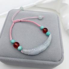 天然玉石翡翠玉手鏈女士綠松石手串個性玉石石榴石手鏈手飾品代發